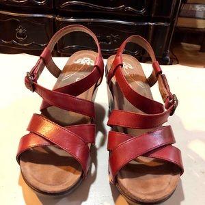 Dansko Frida red platform sandals